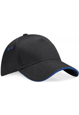 Zwarte / blauwe pet Ultimate 5-Panel cap van Beechfield